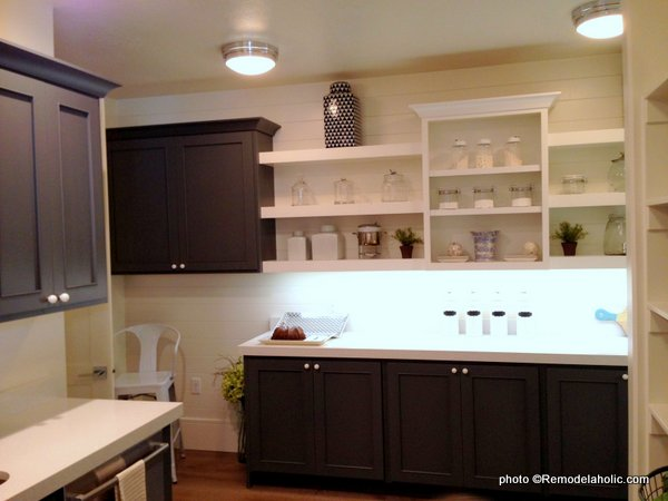 Dark Gray Kitchen Cabinets With White Countertop And Open Shelving, UVPH 2015 HOME 6 SUMMIT CONSTRUCTION