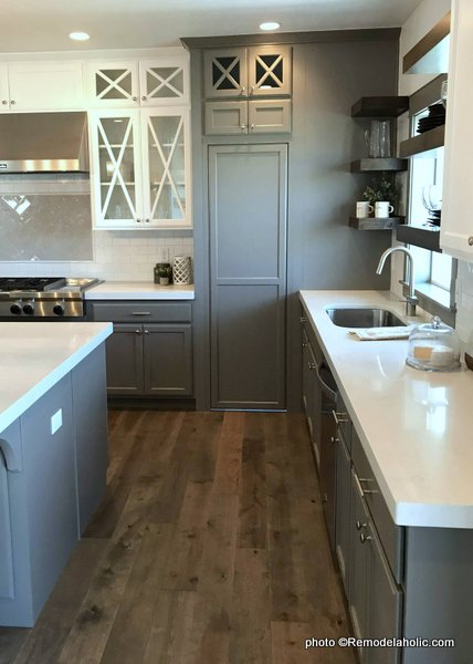 Gray Kitchen Cabinetry With White Upper Cabinets, Modern Farmhouse, UVPH 2018 Home 24 Alair Homes, Liv Design Collective
