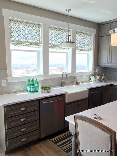 Gray Kitchen Cabinets With Silver Hardware, Farmhouse Sink, White Counter Top, UVPH 2015 #22 Edge Homes