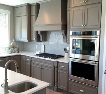 Gray Kitchen Cabinets With Silver Hardware, Range Hood, Backsplash, UVPH 2015 #22 Edge Homes