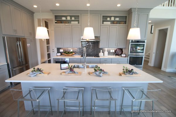 Light Gray Kitchen Cabinets With Dark Gray Backsplash, White Countertop, SLPH 2018 Home 5 Regal Homes