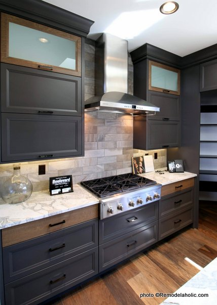 Modern Dark Gray Kitchen Cabinets With Wood Accents Black Handles, SGPH 2019 House 14 Richard Brothers Custom Homes