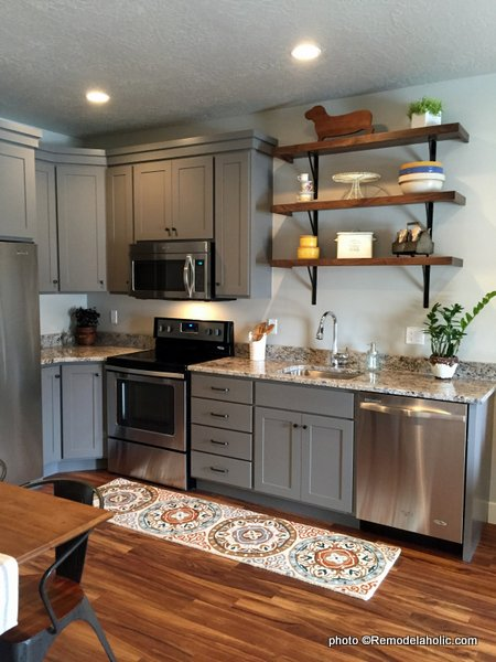 Modern Farmhouse Shaker Gray Kitchen Cabinets With Rustic Wood Bracket Open Shelving, UVPH 2016 Home 30 Maple Shade Construction