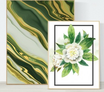 Printable Wall Art, Agate Rock Pattern And White Floral Watercolor, Remodelaholic