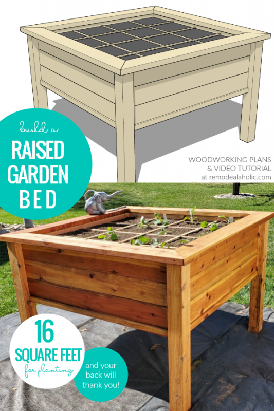 DIY Raised Garden Bed Planter For Square Foot Gardening, Video Tutorial And Woodworking Plan, Remodelaholic