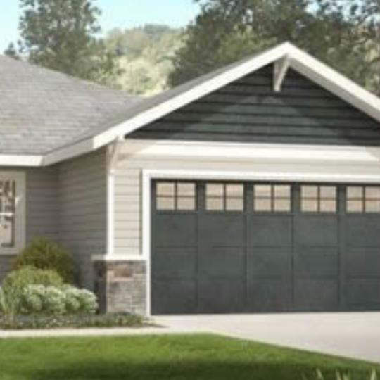 Grey Garage Door With Windows