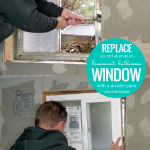Install A New Window In Basement Bathroom, How To Replace An Old Aluminum Window With A New Double Pane Vinyl Window #remodelaholic
