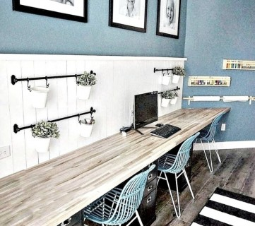 Remodelaholic On Instagram, Long Wooden Desk With White Shiplap Half Way Up And Blue Walls And Blue Chairs And Hanging Plants