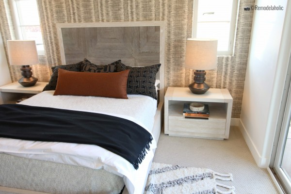 Modern and neutral master bedroom with wallpaper feature wall, SGPH 2019 House 16 Brian Geer Development, Inc, Photo by Remodelaholic