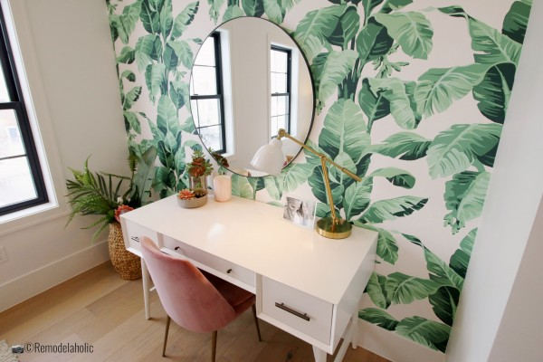 Home office with beautiful palm leaf wallpaper, SGPH 2019 House 24 K Welch Homes, Photo by Remodelaholic