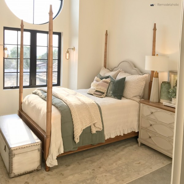 Storage trunk at the end of a bed for added storage, SLPH 2018 Home 6 Bradshaw Homes & Property, photo by Remodelaholic