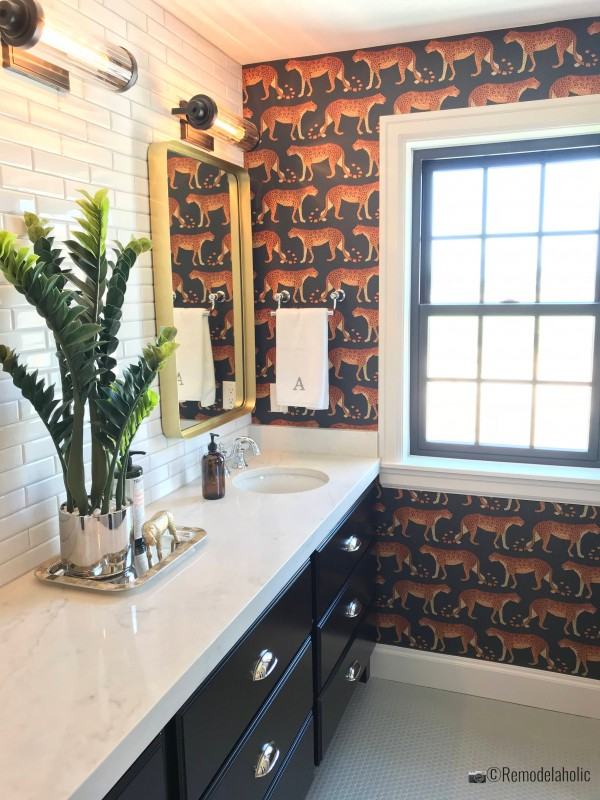 Bathroom with animal print feature wall, UVPH 2018 Home 16 Arive Homes, Photo by Remodelaholic