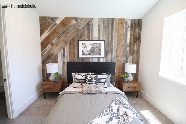 Rustic wood feature wall with multidirectional shiplap, UVPH 2018 Home 17 Millhaven Homes, Four Chairs Furniture & Design, Photo by Remodelaholic