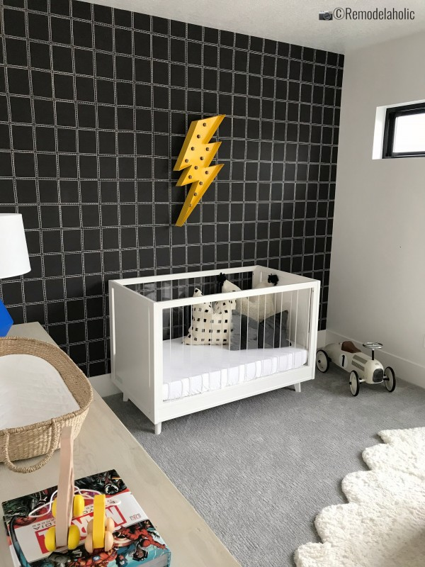 Super hero nursery complete with a cute graphic wallpaper, UVPH 2018 Home 26 Murdock Builders, Photo by Remodelaholic