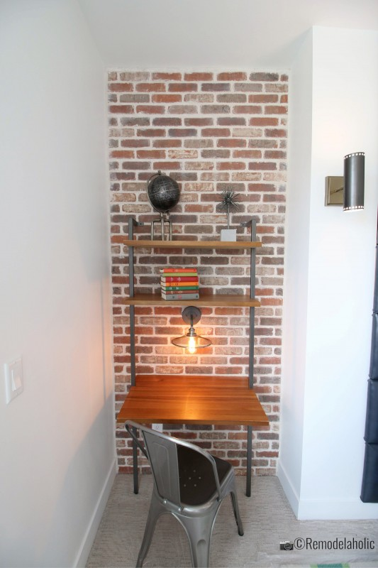 Small desk red brick decorative wall panels for an accent wall with texture, UVPH 2018 Home 27 Foster Custom Homes, Megan Rae Interiors, Photo by Remodelaholic