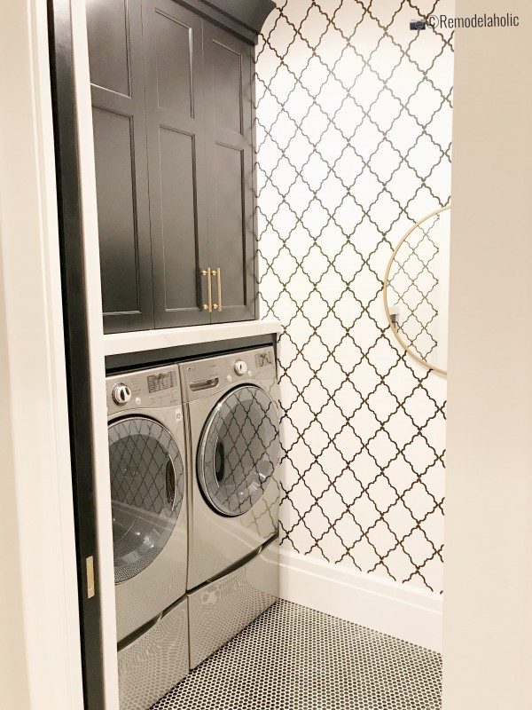 Small laundry room with wallpaper trellis design, UVPH 2018 Home 30 Shelby Homes, Gatehouse No. 1 Furniture & Design, Photo by Remodelaholic