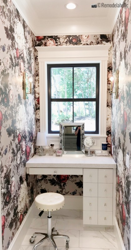 Gorgeous vanity area with a beautiful floral wallpaper, UVPH 2018 Home 32 Highland Custom Homes, Osmond Designs, Photo by Remodelaholic