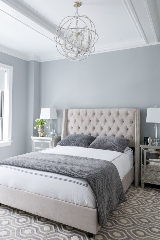 Bedroom With With Grey Walls, Wall Color Is Benjamin Moore Coventry Gray