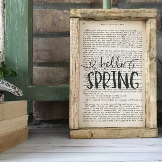 Hello Spring DIY Sign In Wooden Frame