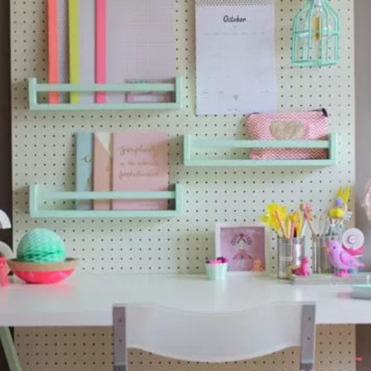 Homework Station With Bright Colors And Peg Board Wood Organizer Baskets