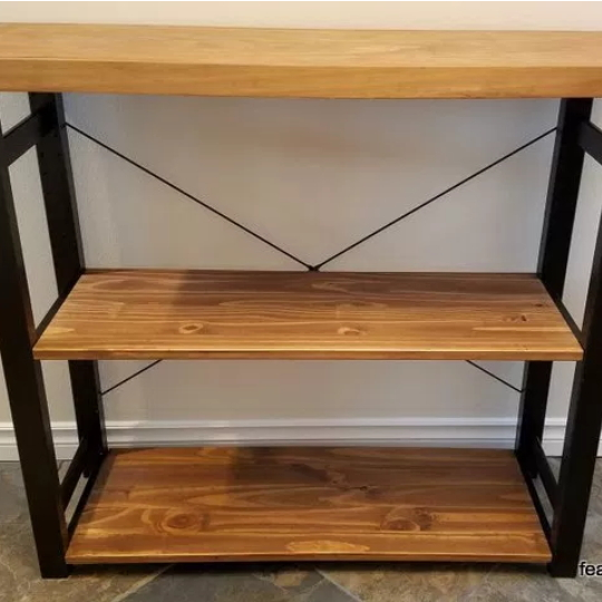 IKEA Hack Bookshelf With Wood Stain And Black Metal