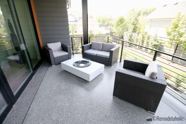 A small patio is a great place to add a modern fire pit, SLPH 2018 Home 3 Breen Homes, Photo by Remodelaholic