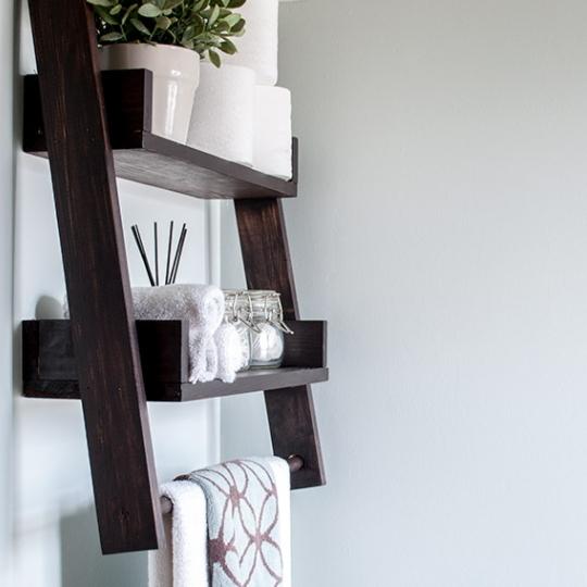 Wooden Bathroom Ladder Shelf