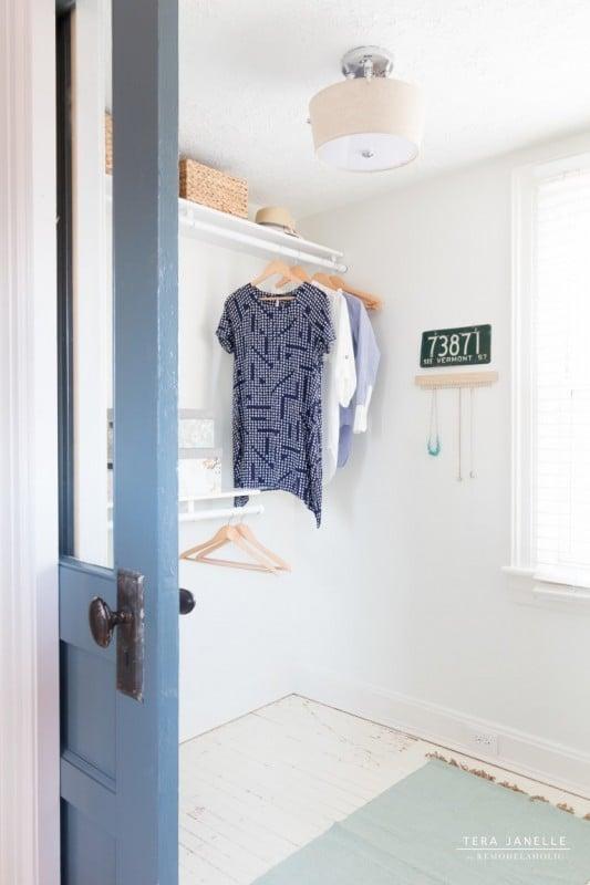 DIY Walk In Closet With Blue Wall