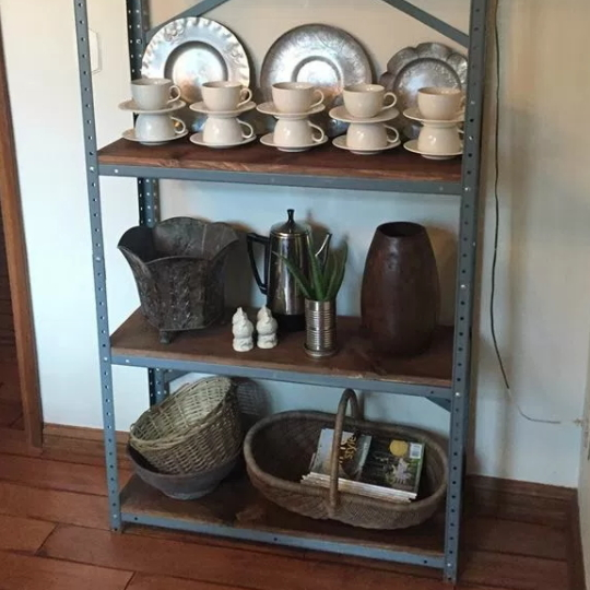 Metal And Wood Shelves With Kitchen Decor