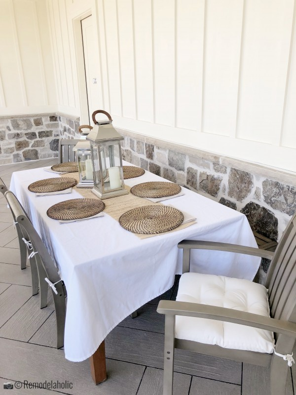 Neutral patio dining set. UVPH 2018 Home 33 E Builders, Erin Hansen Design, Photo by Remodelaholic
