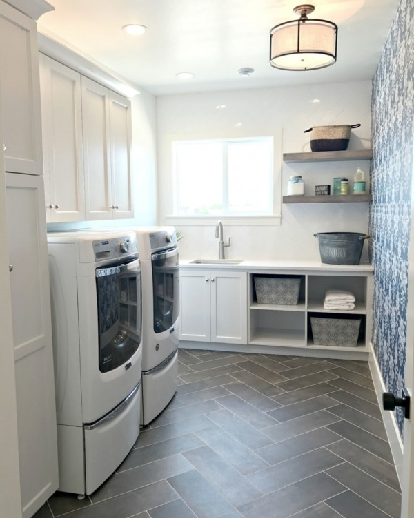 Wash Room With Grey Tile Herringbone Floor And Blue And White Accent Wallpaper Wall