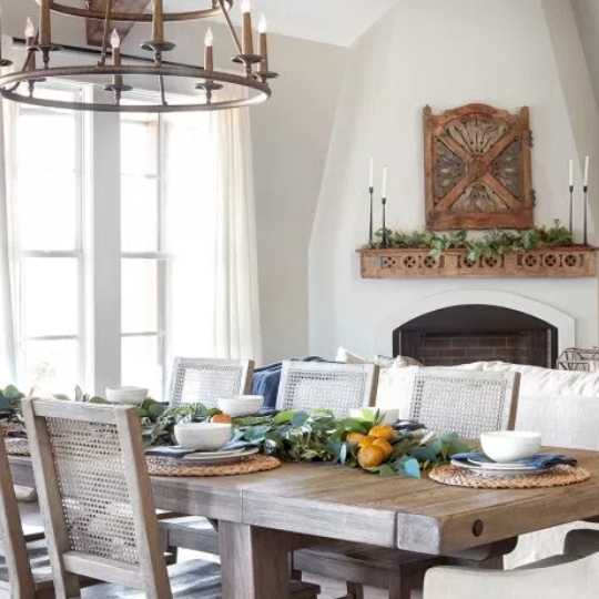 Wooden Table With White Walls, Green Tablescape