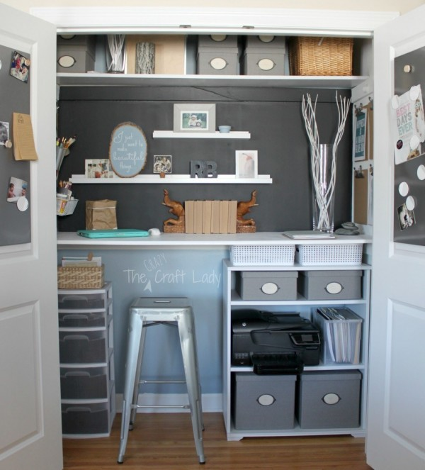 Closet Craft Space With White Shelves And Metal Bar Stool