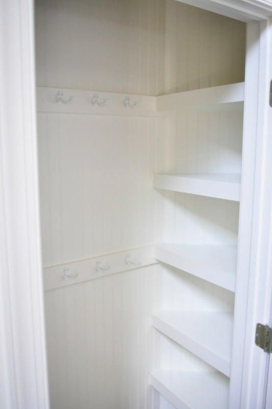 Maximizing Hall Closet, White Closet With Shelves And Hooks