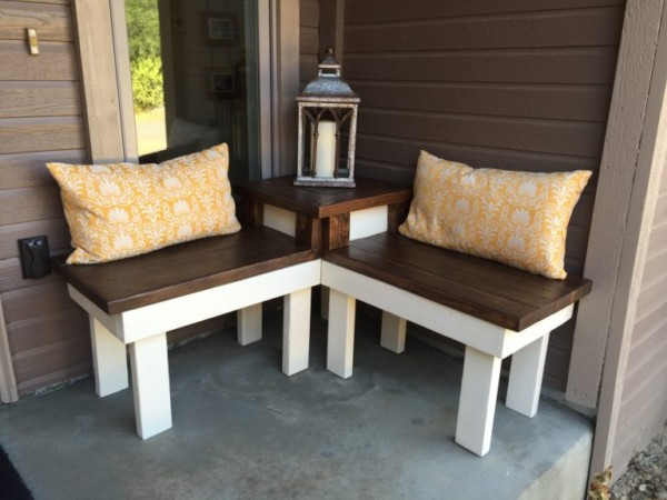 Build A Corner Bench With Built In Table And Yellow Pillows