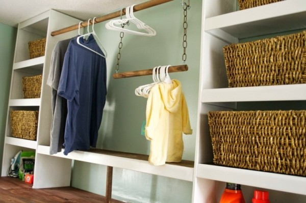 Built In White Laundry Room Shelves With Wicker Baskets