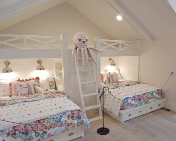 Bunk Room With White And Florals
