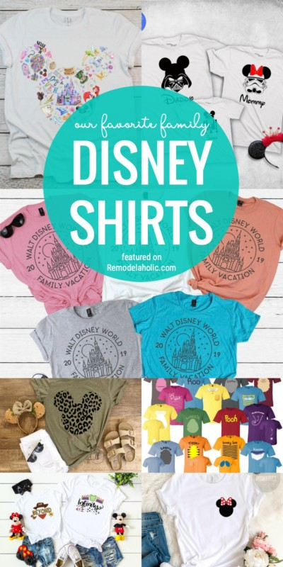 Dress Your Family In Style, Disney Style That Is! We Are Sharing Our Favorite Family Disney Shirts At Remodelaholic.com #disneyland #disneyworld #disneyshirts #familyshirts #matchingshirts