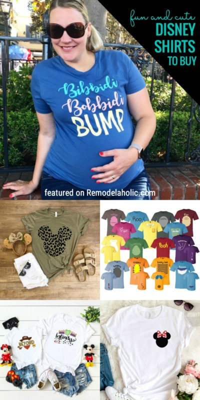 Fun And Cute Disney Shirts To Buy For Your Trip Or To Wear At Home! Some Even Match With Others For More Fun. Disney Shirts To Buy Featured On Remodelaholic.com