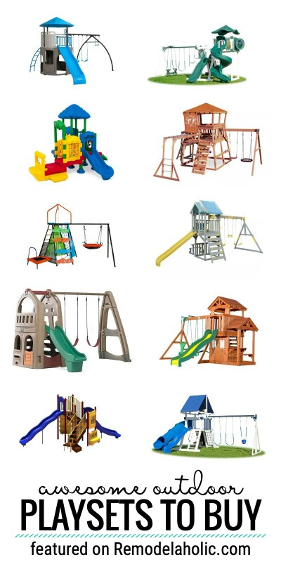 Have Lots Of Fun In Your Own Backyard With One Of These Awesome Outdoor Playsets To Buy Featured On Remodelaholic.com