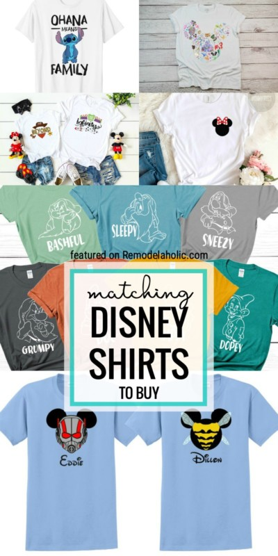 Match With Friends And Family On Your Next Disney Trip Or While At Home With These Matching Disney Themed Shirts To Buy Featured On Remodelaholic.com
