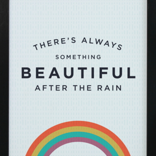 Printable, White Background With Rainbow And Letting That Says There's Always Something Beautiful After The Rain