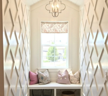 Remodelaholic Instagram Window Bench With Colored Pillows, Cubbys, Accent Walls