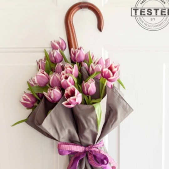 Spring Door Decor, Image Of Umbrella With Filled With Purple Flowers Hanging On Doors
