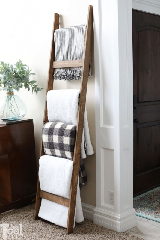 Big Blankets On A Wooden Quilt Ladder Decor Idea, HerToolbelt
