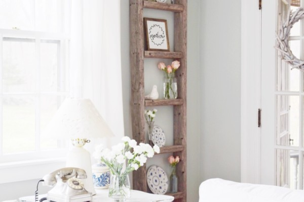 Easy Ladder Decor Ideas: Decorate Vintage Ladder Decor Frames Plates, Gratefully Vintage