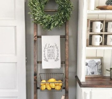 Decorate Vintage Ladder For Kitchen Decor