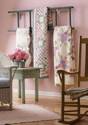 Ladder Decor Ideas: Horizontal Blanket Ladder On The Wall, All People Quilt