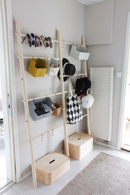 Ladder Storage Entryway Hall Tree