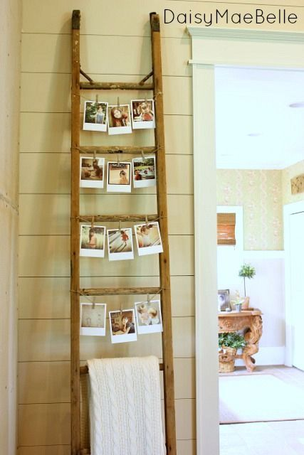 Vintage Wood Ladder Decor Idea: Photo Display